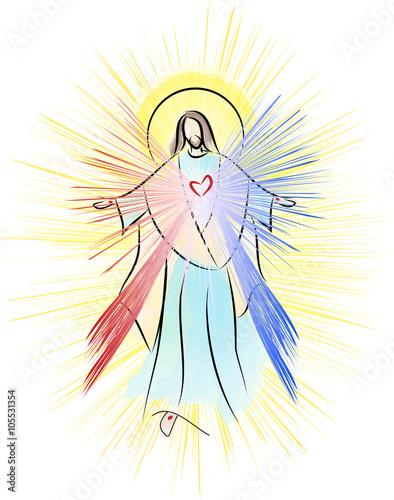 Jésus-Christ, Sacré-Coeur Miséricorde Divine avec des rayons Poster Mural XXL