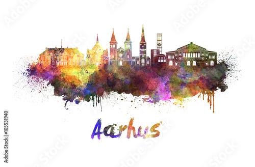 Aarhus skyline in watercolor Poster