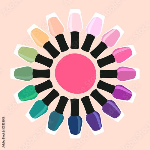 Photographie  Vernis à ongles multicolores en cercle 2