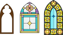 Church Stained Glass Windows, Vector Illustration In Color And Line Drawing.
