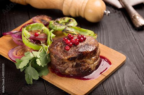 Fotografia, Obraz  Grilled Steak Meat on the dark surface