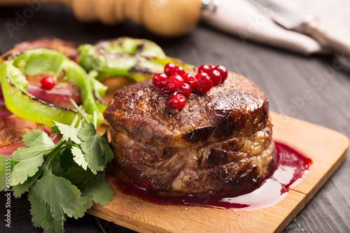 Fotografia, Obraz  Grilled Steak Meat on the wooden surface