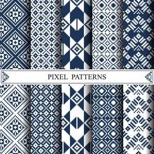 Thai Pixel Pattern, Thai Textile, Pattern Fills, Web Page Backgr
