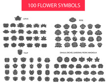 100 Flower Thin Line Flat Mode...