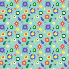 Colorful flower vector pattern in retro style spring meadow with chamomiles and blue background
