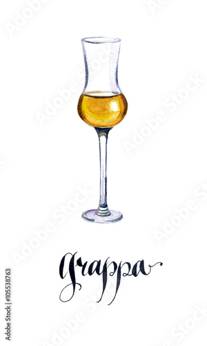 Photo Glass of Italian grappa brandy