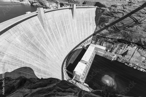 Deurstickers Dam Glen Canyon Dam Arizona Black and White