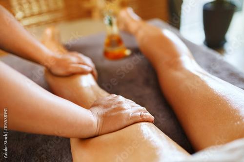 Body Care Spa Massage Therapy Closeup Masseur Massaging Long