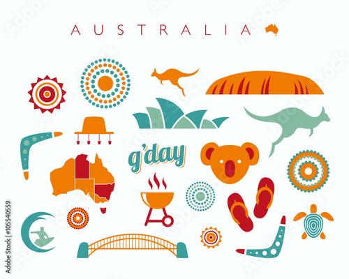 Australia icon set - Vector illustration Wallpaper Mural