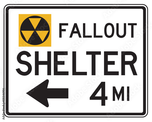 Photo  United States MUTCD emergency road sign - Fallout shelter.