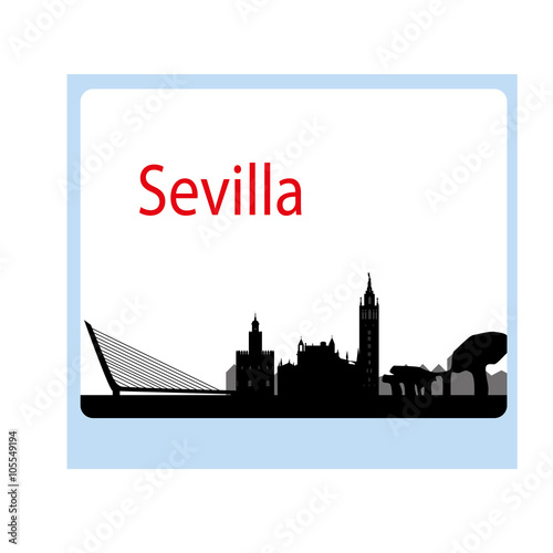 Poster India skyline of the city of Seville in Spain