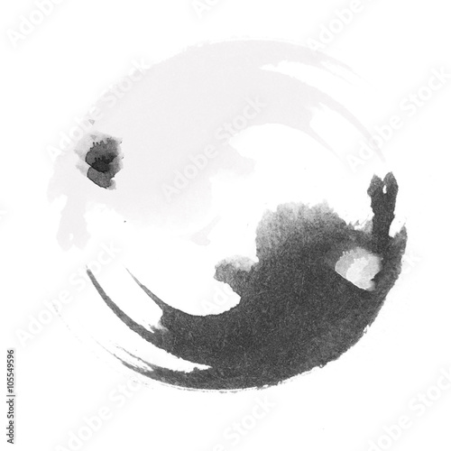 Fotografija  WATERCOLOR ILLUSTRATION - Yin and Yang stylized logo