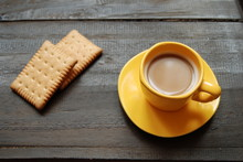 Instant Hot Coffee With Plain Biscuits On Wooden Background. Close-up, View From Above.