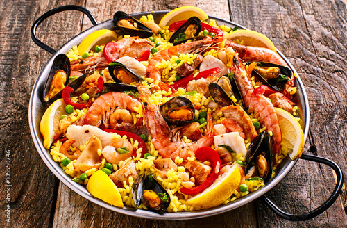 Colorful Seafood Paella Dish with Shellfish