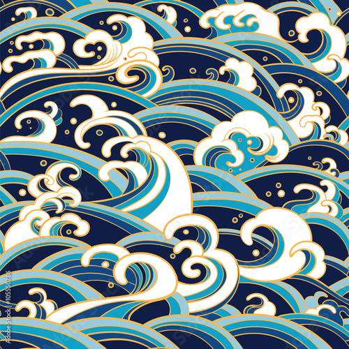 Cuadros en Lienzo seamless pattern with water waves and splashes
