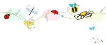 Bee Vector With Daisy Flower. ...