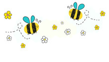 Bee Vector With Daisy Flower Banner Background