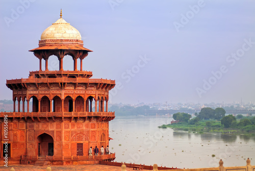 Red tower of Taj Mahal complex in Agra, India Wallpaper Mural