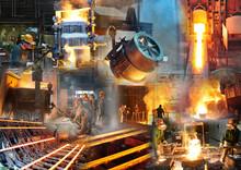 Stahlindustrie - Arbeiter Bei Der Produktion In Einem Stahlwerk Oder Giesserei - Konzept Und Collage // Steel Industry And Foundry