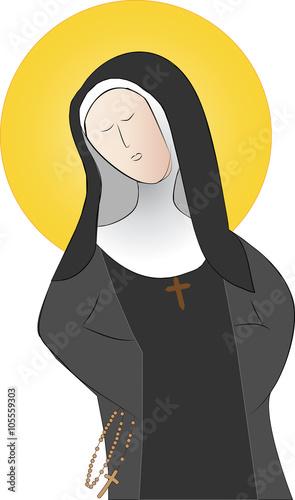 Photo  A holy nun, catholic saint simple abstract vector illustration
