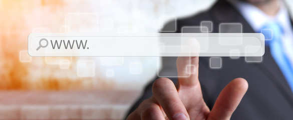 Man surfing on internet with digital tactile web address bar