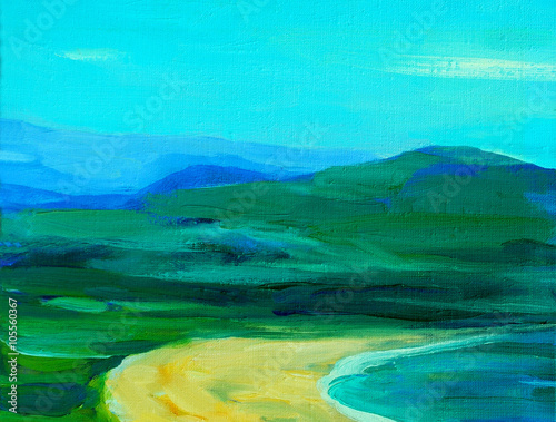 Spoed Foto op Canvas Turkoois abstract landscape with mountains and sea, illustration