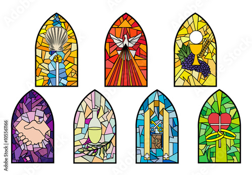 Fotografía Symbols of the seven sacraments of the Catholic Church on stained glass church w
