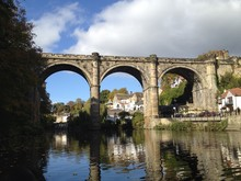A Railway Bridge Crossing The River In Knaresborough, UK