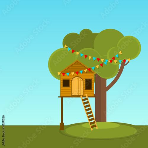 Fotografie, Tablou  Tree House children's games. Playhouse on the tree. Secret place.