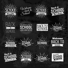 Back To School Calligraphic Designs Label On Chalkboard. Retro Style