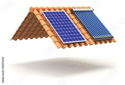 Obraz Solar panel and solar heater on the roof - fototapety do salonu