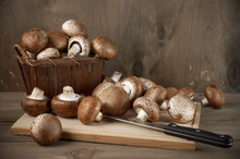 Still Life With Brown Cap Mushrooms