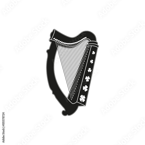 Fotografie, Tablou Symbol of  saint patrick day harp