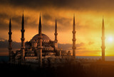 The Blue Mosque during sunset in Istanbul