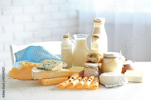 Poster Produit laitier Set of fresh dairy products on white wooden table