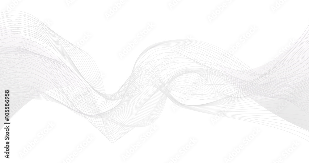 Abstract grey wave isolated on white background. Vector illustra