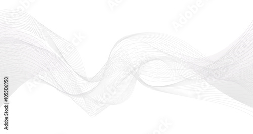 Fotografija  Abstract grey wave isolated on white background. Vector illustra