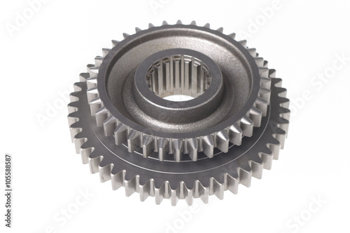 Photo  metal sprocket isolated on white