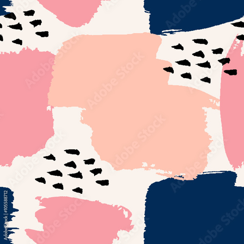 Hand Drawn Abstract Seamless Pattern Принти на полотні