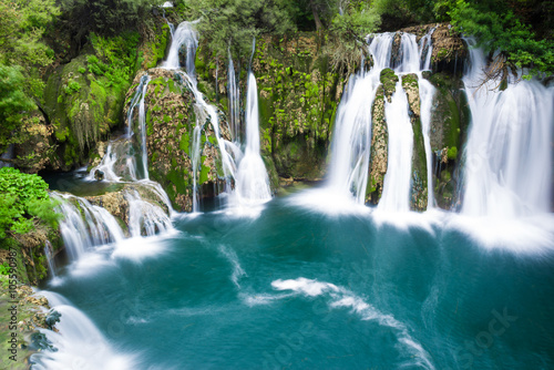 Foto op Canvas Groen blauw Waterfalls of Martin Brod on Una national park, Bosnia and Herzegovina