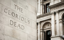 Remembrance Day: Whitehall Cenotaph, London. Detail From The Cenotaph On Whitehall, London, With Focus On The Phrase 'The Glorious Dead'.