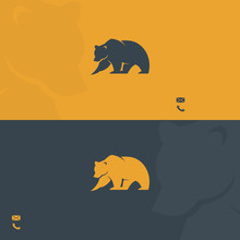 Business Card Template With Bear Symbol