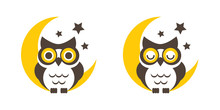 Owl Cartoon On The Moon Vector