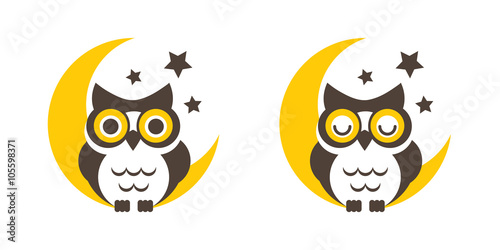 Keuken foto achterwand Uilen cartoon Owl cartoon on the moon vector