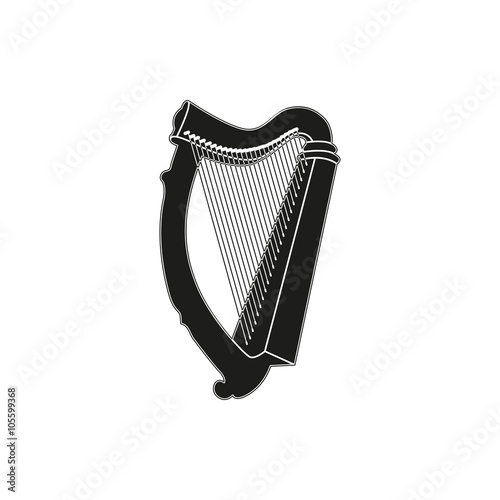 Vector illustration of harp on white background Fototapet