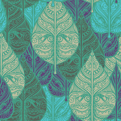 Fototapeta Liście Seamless pattern with leaves