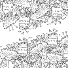 Pattern for coloring book. Ethnic retro design