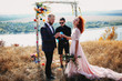canvas print picture - Amazing wedding ceremony on the riverbank