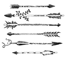 Hand Drawn Arrows In Tribal St...