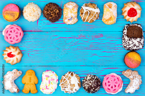 Garden Poster Cookies Frame of colorful assorted cookies or biscuits